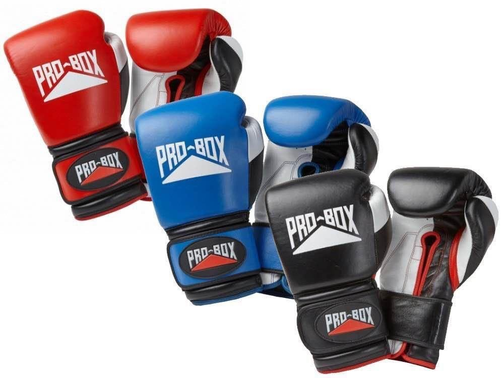 Blue Pro Box Boxing Gloves Super Spar Leather Sparring Training