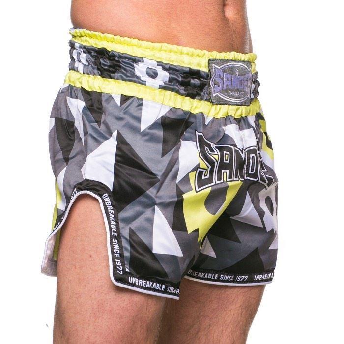 Sandee Muay Thai Shorts Inca Carbon Black /& Yellow Large