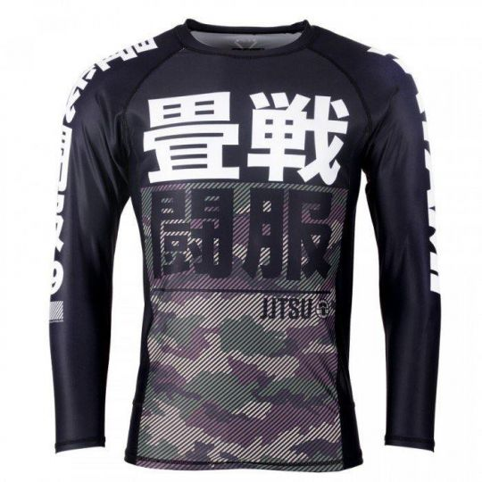Tatami Kids Essential Long Sleeve Camo BJJ Rash Guard - Green