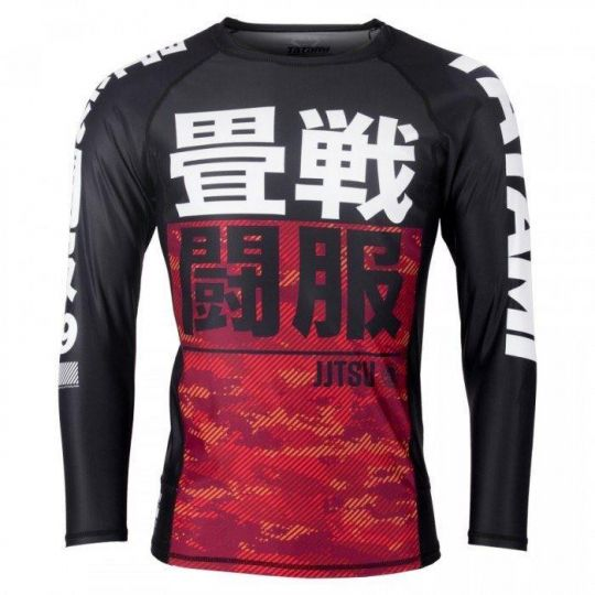 Tatami Kids Essential Long Sleeve Camo BJJ Rash Guard - Red