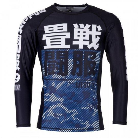Tatami Kids Essential Long Sleeve Camo BJJ Rash Guard - Blue