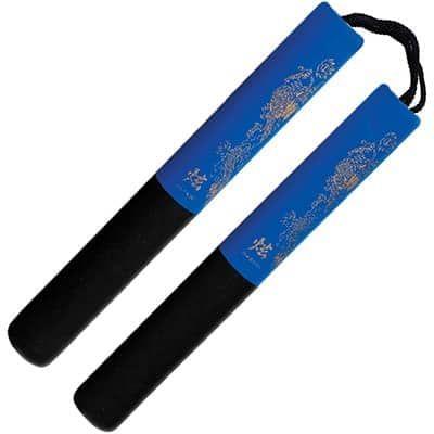 black-blue-foam-safety-cord-nunchaku-12-inch