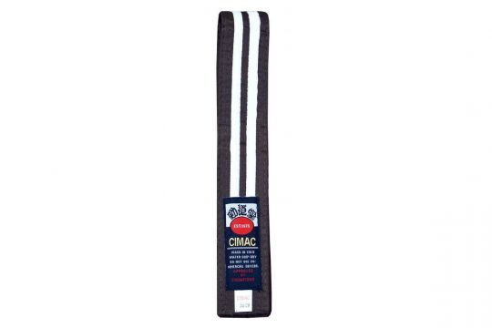 Cimac Double White Stripe Brown Karate Belt | Clothing | Fight Equipment UK