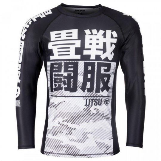 Tatami Kids Essential Long Sleeve Camo BJJ Rash Guard - White