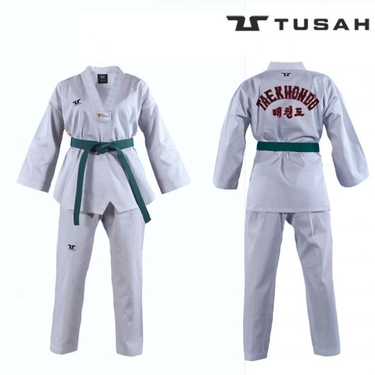 Tusah Kids White Collar Taekwondo Dobok - Embroidered Back - WTF Approved
