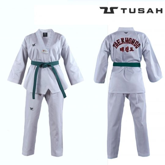 Tusah Adult White Collar Taekwondo Dobok - WTF Approved - Embroidered Back