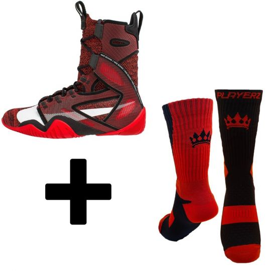 Nike Hyper KO 2 Boxing Boots - Red (With Free Playerz Boxing Socks)