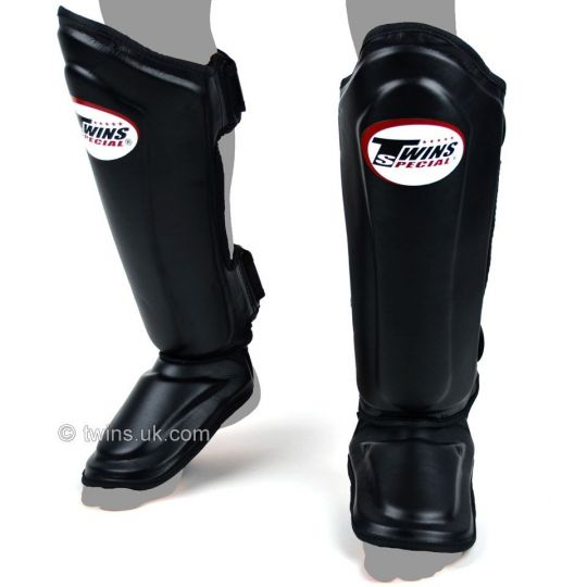 Twins Double Padded Leather Shin Pads - Black