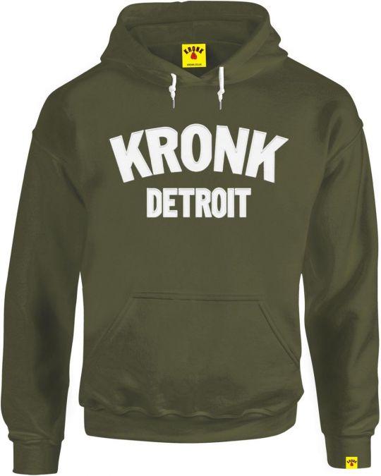 Kronk Detroit Applique Hoodie - Military Green
