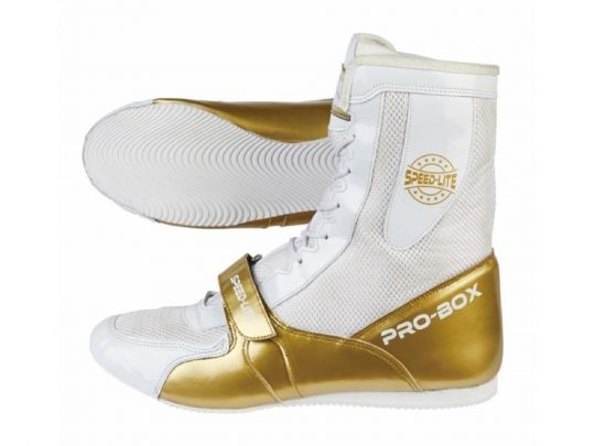 Pro Box Speed Lite Junior Boxing Boots - White/Gold