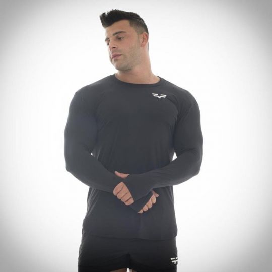 Gym Freak Mens Long Sleeve Compression Top - Black