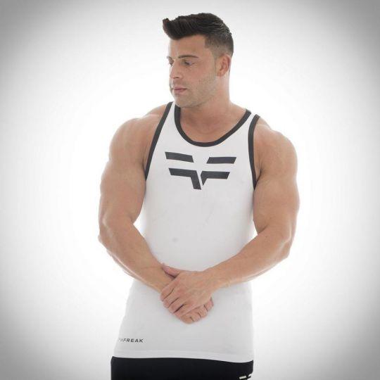 Gym Freak Mens Pro Vest - White