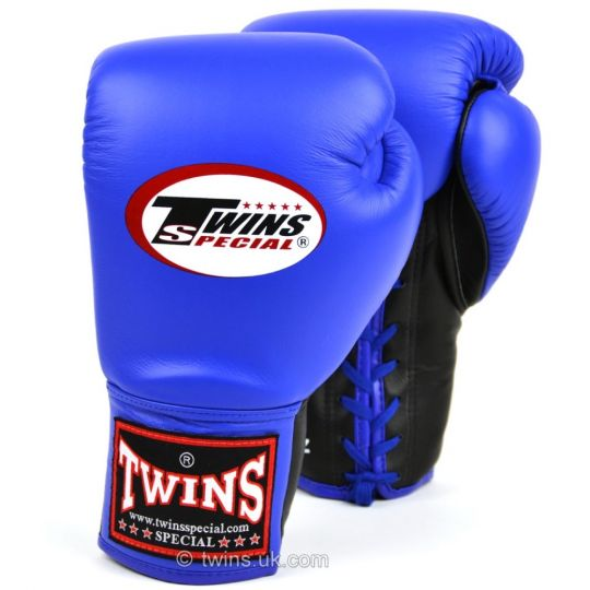 Twins Lace Up Boxing Gloves Blue