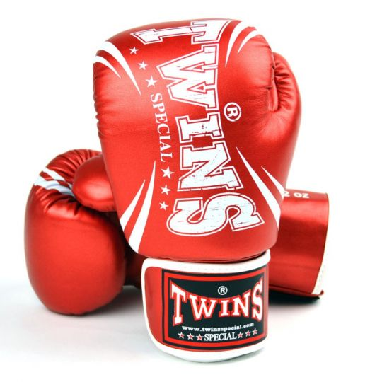 Twins Metallic Boxing Gloves - Red