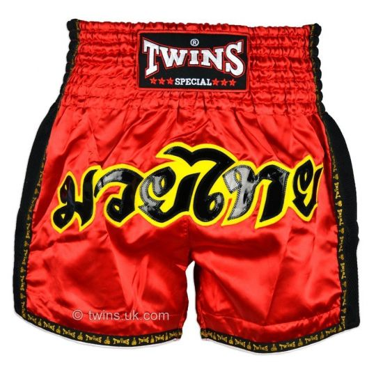 Twins Red Retro Muay Thai Shorts