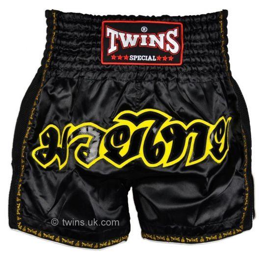 Twins Black Retro Muay Thai Shorts