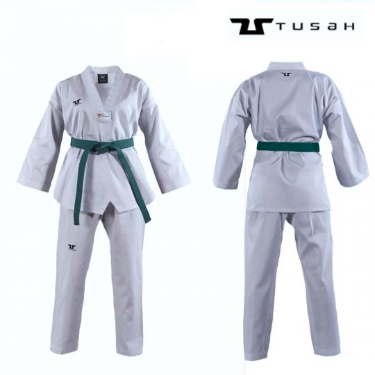 Tusah Adult White Collar Taekwondo Dobok - WTF Approved
