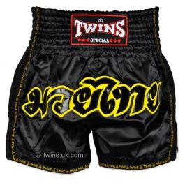 Twins Retro Muay Thai Shorts - Black