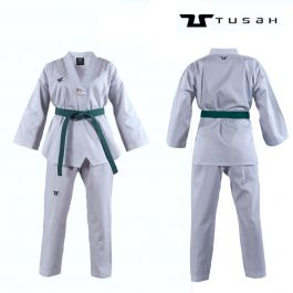 Tusah Kids White Collar Taekwondo Dobok - WT Approved