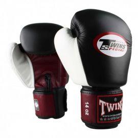 Twins 3 Tone Boxing Gloves - Black/Burgundy/White